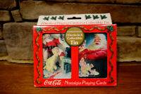 Vintage 1996 Coca Cola Christmas Playing Cards With Collectible Tin - Two Decks