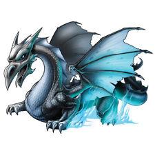 """Dragon"" Temporary Tattoo, Grey Winged Dragon w/ Blue Fire Flames, USA Made"