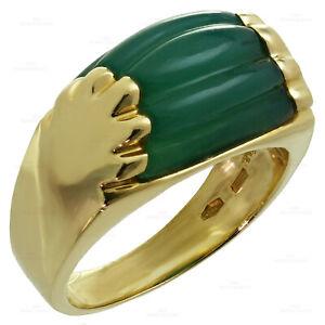 BULGARI Tronchetto Green Chrysoprase 18k Yellow Gold Ring Size 6.5