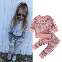 Toddler Kids Baby Girls Velvet Sweater Tops Long Pants Outfits Clothes Tracksuit