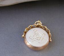 Vintage 9K Yellow Gold Masonic Pocket Watch Fob Charm Braided Pendant
