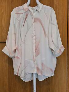 RIVER ISLAND Ivory Pastel Pink Grey Oversized Tunic Shirt Blouse Top Size 14-16