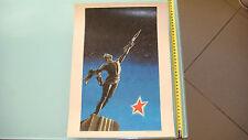 1965 RUSSIAN SOVIET GAGARIN,SPACE,ROCKET PROPAGANDA POSTER 30x40