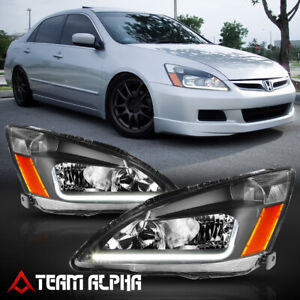 Fits 2003-2007 Honda Accord {LED L-BAR DRL} Black/Clear Amber Corner Headlight