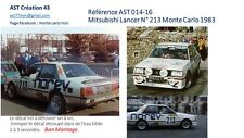 DECALC DECALS CALCA 1 43 MITSUBISHI LANCER N° 213 Rallye WRC monte carlo 1983