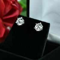 Solitaire 2.00 Ct Diamond Earrings Stud Solid 14K White Gold Studs Earring