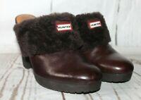 HUNTER Bruson Platform Clogs/Mules Brown Leather & Sheepskin Rubber Heels Sz 7