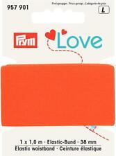 1m goma - Banda Elástica 38mm naranja, fijo, Terciopelo Suave Sin Prym Love 957