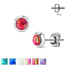 FAMA Opal Bezel Set 316L Surgical Stainless Steel Stud Earrings