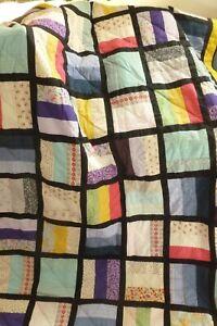 Unusual vibrant handmade patchwork design small quilt bedspread throw XC