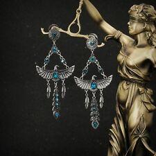 earrings Nails Silver Pendant Long Eagle Pen Ethnic Blue Big AA 13