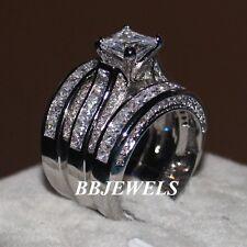 1.50ct Excellent Princess Cut Diamond 3Piece Bridal Set Ring 10K White Gold Over