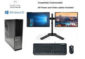 Fast Dell DT Dual Screen Setup Computer Intel i5 16GB,2TB,SSD Windows 10 Pro Wif