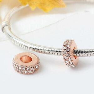 Pandora Bracelet rose gold plated spacer charm, Sparkly Spacer charm
