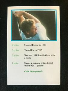 Colin Montgomerie 1999 A Question Of Sport Golf Mint Condition Pack Fresh Card
