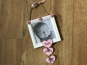 Personalised Newborn Baby Hanging Photo Frame Keepsake Gift ANY WORDING