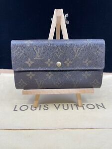 LV2061 LOUIS VUITTON Brown Monogram Canvas Leather Sarah Long Envelope Wallet