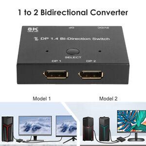 TV Displayport Splitter DP1.4 8K Bi-Direction Switch Adapter 1x2 2x1 Switcher