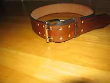 CUSTOM MADE GENUINE LEATHER BELT 2'' WIDE DOUBLE PRONG BUCKLE ANTIQUE BROWN