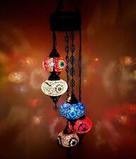 Turkish Marroquí Grande Mosaico de Vidrio Candelabro 5 BALL Lámpara colgante -
