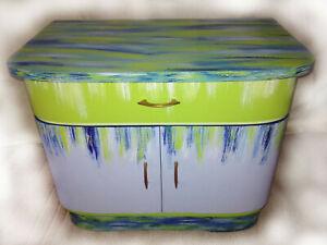 Restauriertes Schränkchen /Schrank Shabby Farbe Grün / Blau