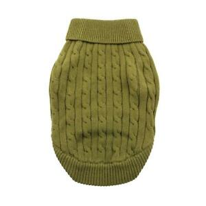 Doggie Design Combed Cotton Cable Knit Dog Sweater - Herb Green   XXS-3XL