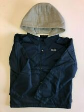 Vans New Riley Hooded Button Down Jacket Youth Boy's Size Medium Blue