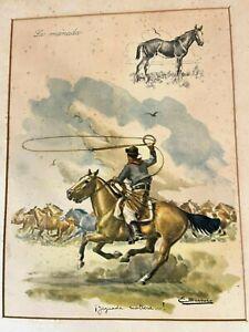 """vintage WESTERN PRINT~ELLARENCO~""""LA MANADA~YEGUADA MATRERA"""" cowboy LUIS FANTINI"""