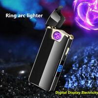 New LED Power display Electronic lighter USB charge rotate arc Windproof lighter