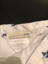 "POTTERY BARN KIDS WHITE  With Blue  Stars Full Sheet.100% COTTON GIRLS 96""x 90"""