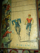 Very RARE, 1880s, antique BICYCLE RACE board game, wooden litho framed wall case