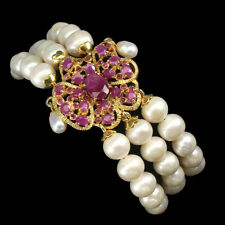 Heated Oval Red Ruby 9x7mm Pearl 14K Gold Plate 925 Sterling Silver Bracelet