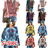 Women Boho Floral V-Neck Long Lantern Sleeve Oversize Blouse T Shirt Tops Plus