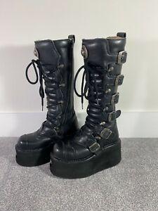 New Rock Black Platform Boots - RARE High Tall Goth Leather Shoes RARE Punk 38