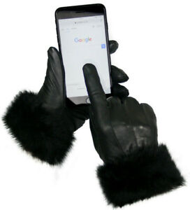 Womens Black Ladies Leather Gloves With Fur Trim Fleece Lined Winter M L XL Gift