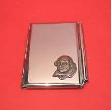 Shakespeare Chrome Notebook / Card Holder & Pen Theatre Literary Christmas Gift