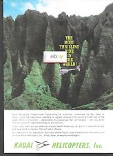 KAUAI HELICOPTERS INC 1966 BELL JET RANGER NA PALI COAST MOST THRILLING RIDE AD