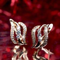 18k yellow gold gf huggies made with Swarovski crystal fashion earrings