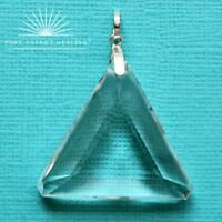 MEDIUM Clear Quartz Triangle Pendant [ 3.0cm 1.2inch Crystal ] Casa Brazil