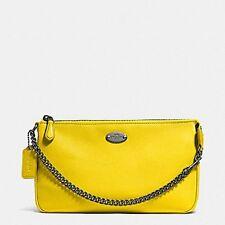 NWT Coach Pebbled Leather Large Wristlet Handbag Clutch Yellow F53340 $150