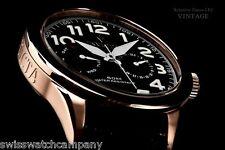 Invicta Men Vintage Swiss ISA Master Calender 18K Rose Gd IP Leather Strap Watch
