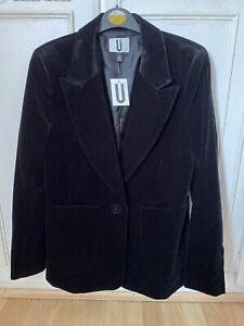 BNWT Topshop UNIQUE Black Velvet Tuxedo Style Blazer UK 12 Rrp £225