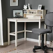 White Corner Laptop Writing Desk Home Living Office Furniture w/ Hutch Included