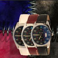 Fashion Men's Sport Date Quartz Stainless Steel Leather Band Analog Wrist Watch