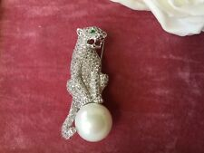 Antique Art Deco Vintage Leopard Panther Pearl Ball Emerald Crystal Eyes Brooch