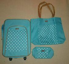 Neu Trolley Reise Koffer Set Shopper Kosmetik Tasche blau türkis Handgepäck