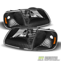 Blk 1997-2003 Ford F150 Expedition Headlights+Signal Lights Corner Lamps 4PC Set