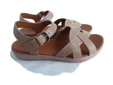Ladies Beige Leather Upper Sandals Size 5 By Fit Flop