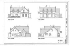 Victorian cottage, stone & wood, porches, printed architectural drawings