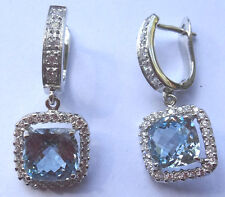 Elagant and Unique Woman Sterling Silver Earring - Simulated Aquamarine